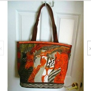 Laurel Burch Moroccan Mares LG Tote Bag